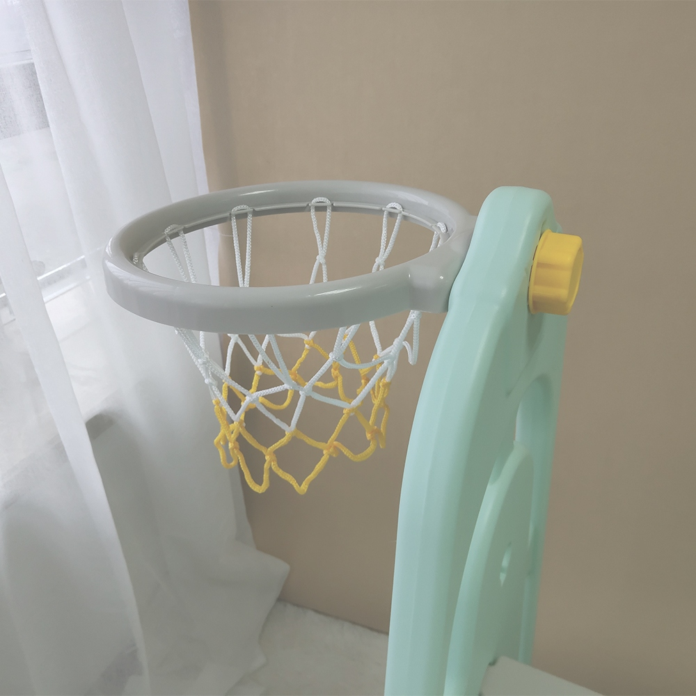 GL7557B 4-IN-1 Kids Slide & Swing & Basketball Hoop & Storage